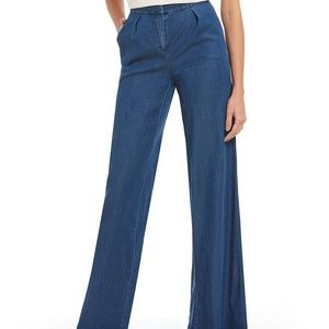 Halston High Waist Wide Leg Dark Wash Jeans 8